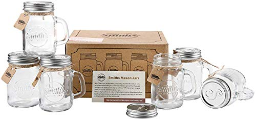 Smiths Mason Jars 6 x 16oz Mason Jar Mugs with Lids, Great Mason Jar Old Fashioned Glasses