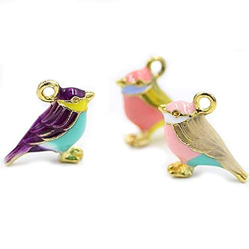 (SANQIU 18PCS Mixed Color Enamel Bird Charm for Jewelry Making and Crafting)