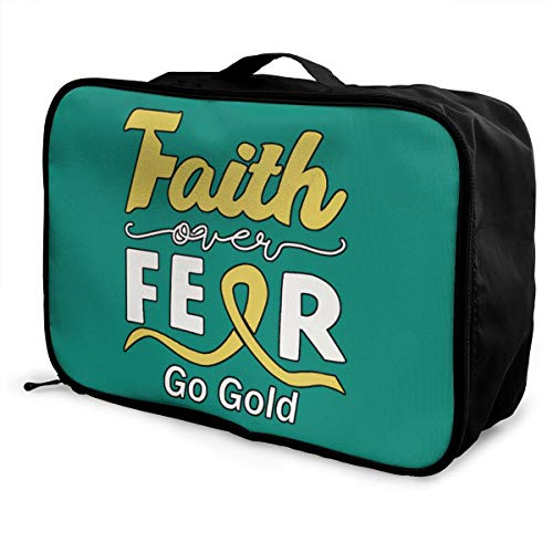 Faith Over Fear Lightweight Large Capacity Portable Luggage Bag Fashion Travel Duffel Bag