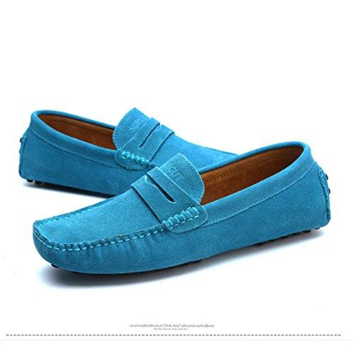 Mocassini vera Flats Sky Moda in Uomo morbidi Blue Scarpe Estate pelle Uomo Style Shoes Driving Mocassini EwTTqSa