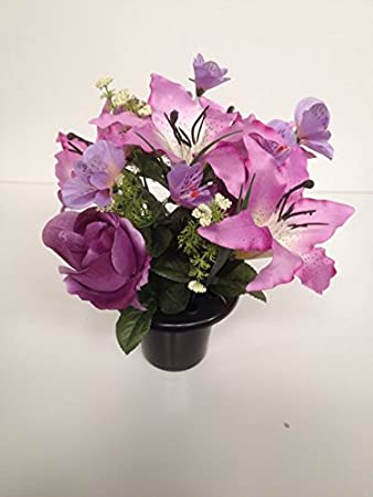 Lilac and purple silk flower memorial vase grave insertcemetery lilac and purple silk flower memorial vase grave insertcemetery tribute crematorium mightylinksfo