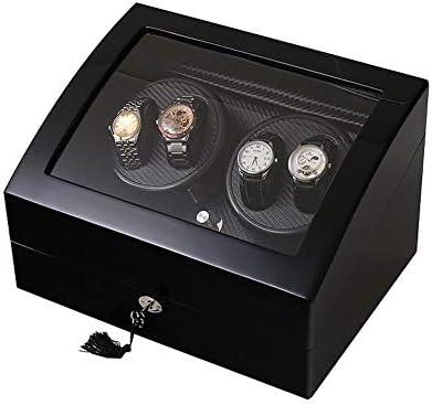機械式時計ボックス、4 + 6時計ワインダー炭素繊維静かなモーター - 5回転モード