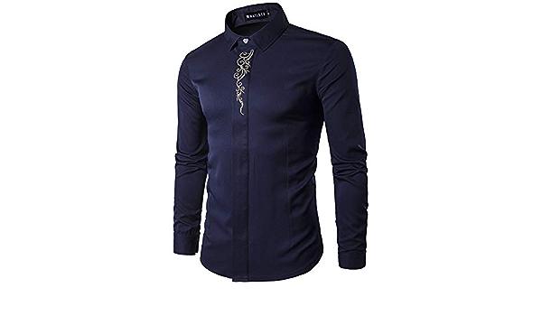 Nueva Camisa de otoño para Hombre, Escote Bordado, Camisa ...