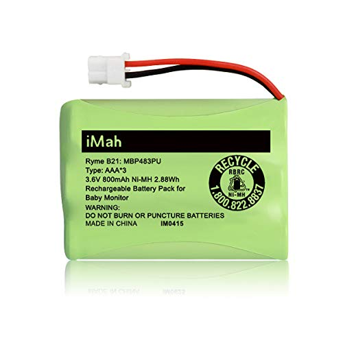 iMah Ryme B21 Battery Compatible with Motorola Baby Monitor MBP33XL (only fits MBP33S MBP36 MBP36S newer 800mAh version) MBP481 MBP482 MBP483 (Don