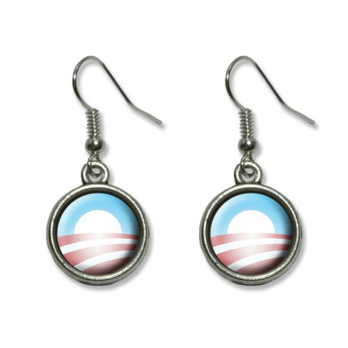 Obama Jewelry - Obama Logo Novelty Dangling Dangle Drop Charm Earrings