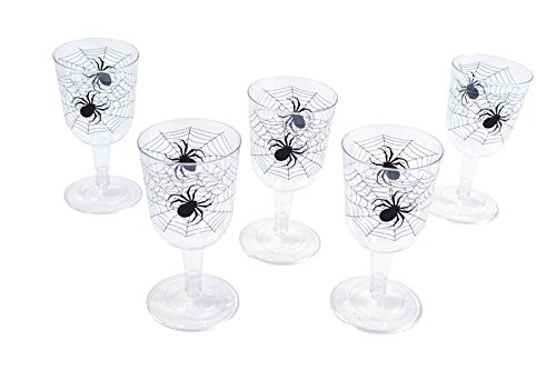 Bristol Novelty HI283 Spider Web Goblet, Clear/Black, One Size ()