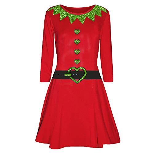 Birdfly Milk Silk Fabric Smooth All-red Knee-Length Christmas Dress Xmas Costume (S, Red) ()