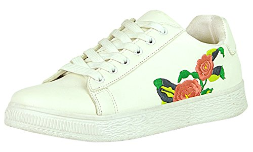 Cambridge Top M Closed Lace Fashion 6 Toe B Select Pu Round White US Low 5 Flower Sneaker Embroidered PU blanco up Women 's Flatform UrrqI4