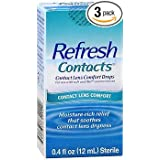 Refresh Contacts Contact Lens Comfort Moisture Drops - 0.4 oz, Pack of 3