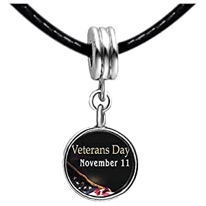 Chicforest Silver Plated November 11 Veterans Day Photo Light Rose Crystal October Birthstone Flower dangle Charm Beads Fits Pandora Charms