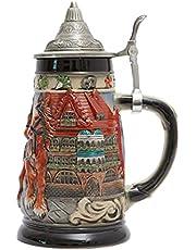 HAUCOZE Beer Stein Mug German Oktoberfest Drinking Tankard with Petwer Lid for Birthday Gifts Men Father Husband 0.85 Liter