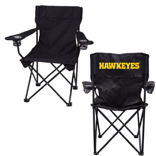 VictoryStore Outdoor Camping Chair - University of Iowa Hawkeyes Black Folding Camping Chair with Carry B