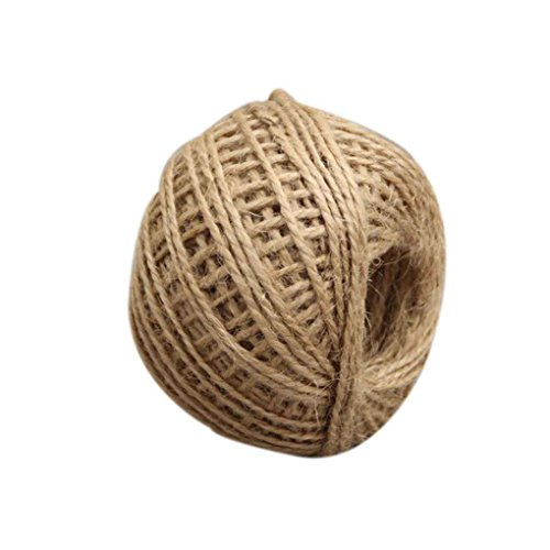 KOROWA Crafts Decoration Hemp Rope 50m Multicolor Twisted Burlap String Natural Ribbon Fiber Jute Twine Rope (Burlap Twisted String)