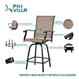PHI VILLA 3 PC Swivel Bar Stools Set Bar Height