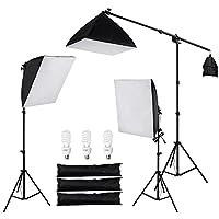 AW 3X 22 Softbox Stand Kit 45W 5500K Bombilla de luz diurna con bolsa Foto video Estudio Cámara Disparo