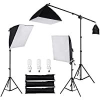 AW 3x 24 Softbox Stand Kit 45W 5500K Day-Light Bulb w/ Bag Photo Video Studio Camera Shooting