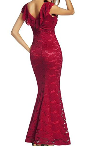 Party Cromoncent Red Neck Mermaid Womens Dress V Bodycon Lace Sexy Long Trqtr6g