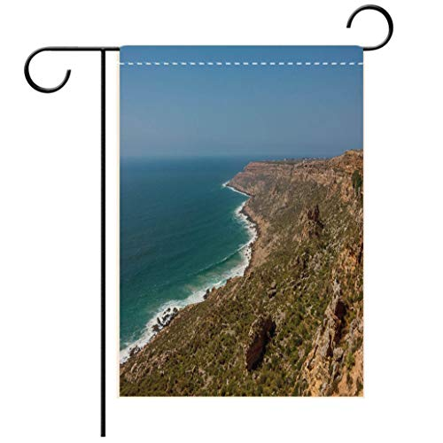 BEISISS Double Print Garden Flag Outdoor Flag House FlagBannerPanoramic View to Atlantic Ocean and Cliff Coast Morocco Near Safi Town Decorated for Outdoor Holiday Gardens