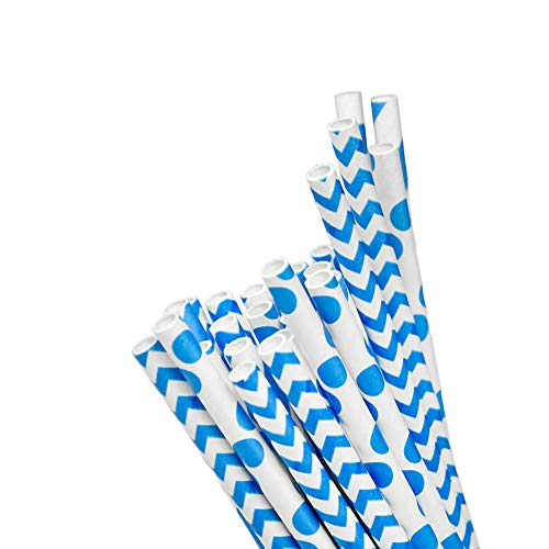Biodegradable Paper Straws Party Pack | 24 Count, 7.75-Inch Blue Paper Drinking Straws | Styles Include Striped, Chevron, and Polka Dot | Paper Straws Biodegradable Made in USA (Polka Dot Crate)