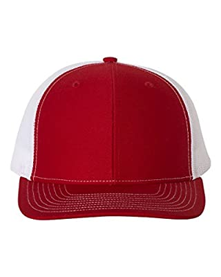 Richardson Trucker Snapback Cap,Red/White,Adjustable