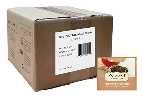 Organic Breakfast Tea (Numi Organic Tea Breakfast Blend, Full Leaf Black Tea, 100 Count Bulk non-GMO Tea Bags)