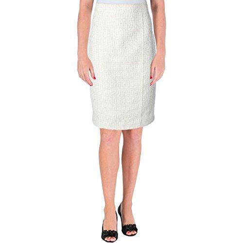 Anne Klein Womens Tweed Textured Pencil Skirt Ivory ()