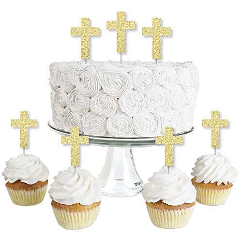 Gold Glitter Elegant Cross - No-Mess Real Gold Glitter Dessert Cupcake Toppers - Religious Party Clear Treat Picks - Set of ()