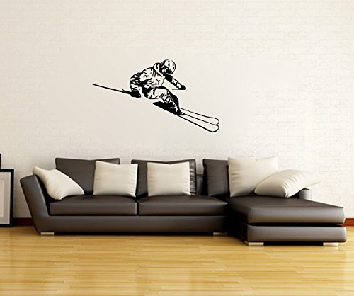 (Snow Skiing Skier Silhouette Vinyl Wall Words Decal Sticker Graphic)