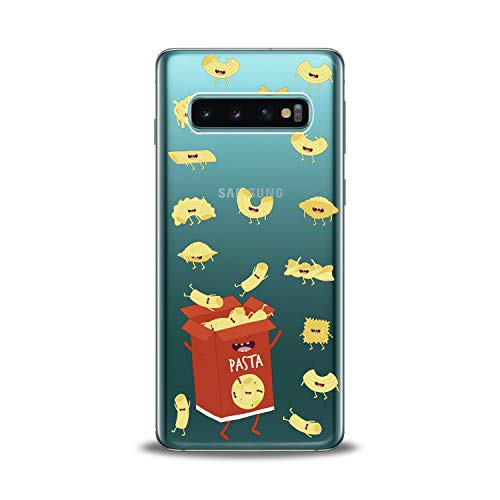 Lex Altern Samsung Galaxy TPU Case s10 Plus A6s s9 Plus A8 s8 A9 Note Clear Cute Pasts Box Red Hungry Yellow Funny Macaroni Silicone Cover Protective Flexible Girls Kawaii -