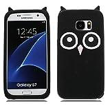 EarthNanLiuPowerTu Samsung Galaxy S7 Edge Case, 3D Design TPU Soft Silicone Gel Case with Cute Owl Pattern Skin Case Cover for Samsung Galaxy S7 Edge - Black