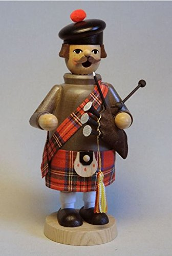 Scottish Man with Bagpipe German Wood Christmas Incense Smoker Made in Germany Man Incense Smoker