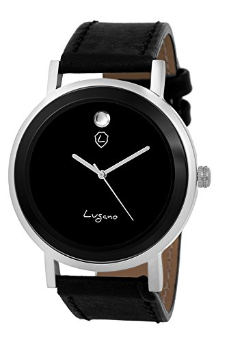 Lugano Movado Dial Black Leather Analog Watch (LG 1082)