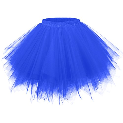 Girstunm Women's 1950s Vintage Petticoats Bubble Tutu Dance Half Slip Skirt Royal Blue 2XL -