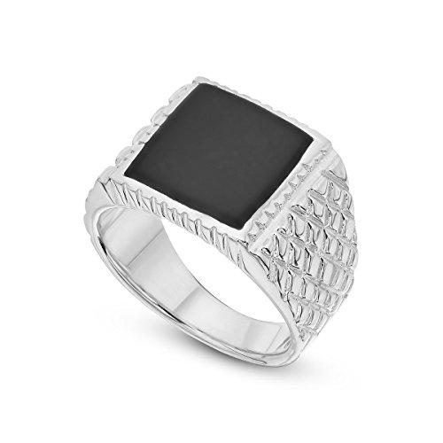 925 Sterling Silver Signet Ring Onyx Natural Stone Cracks Black Ring For Men 13