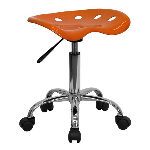 (Flash Furniture Vibrant Orange Tractor Seat and Chrome Stool)