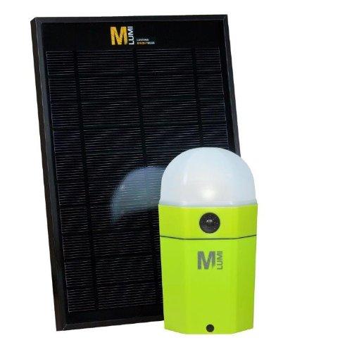 M-Lumi Ökoset: Wasserdichte LED-Leuchte apfelgrün mit Solarpanel (für Outdoor, Camping, Zelten, Angeln, Fischen, Segeln, Trekking, Notfall, Krisenvorsorge, Nachtleuchte, Lampe)