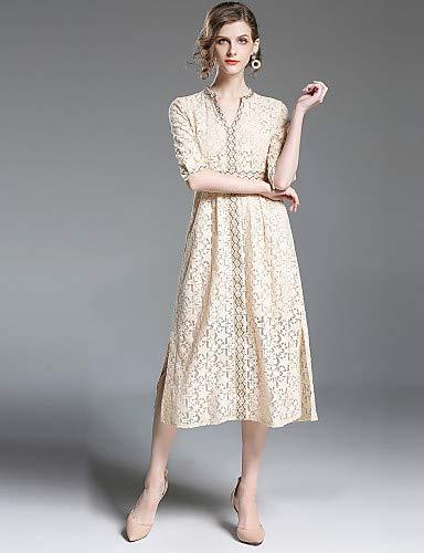 vestito Beige donna scollo sofisticato da donna YFLTZ con a da righe Tinta Pizzo V Elegante a unita w5qaU5n7