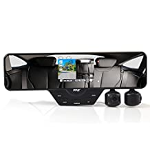 Pyle Car Recorder DVR Front & Rear View Dash Camera Video 3.5 Inch Monitor Windshield Mount - Full Color HD 1080p Security Camcorder for Vehicle - PiP Night Vision Audio Record Micro SD (PLCMDVR52)