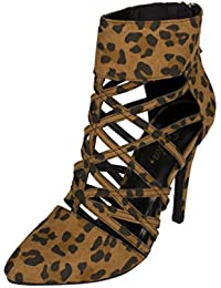 Women's Creamy Pointy Toe Cut Out Slim Heel Pump in Tan Leopard Faux Suede