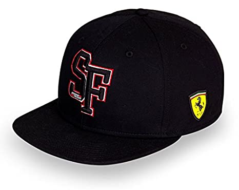 5b084e3632dfe Image Unavailable. Image not available for. Color  Ferrari Black   quot SF quot  Flat Brim Adjustable Snap Back Hat