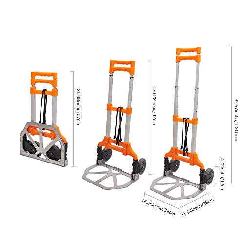 Lucky Tree Folding Hand Truck Aluminium Portable Dolly Cart with Wheels for Office Travel Home Use 170lbs Capacity by Lucky Tree (Image #6)