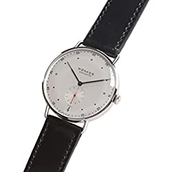 Nomos Glashuette Men's Metro 38mm Black Leather Band Steel Case Mechanical White Dial Analog Watch 1102