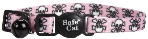 Li'l Pals Kitten Adjustable Breakaway Collar with Bell & Pink Skulls
