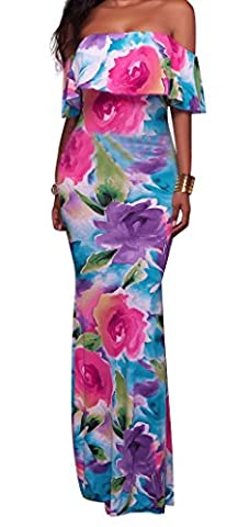FISACE Women's Floral Off Shoulder Bodycon Maxi Dress for Evening (Medium, Rose)