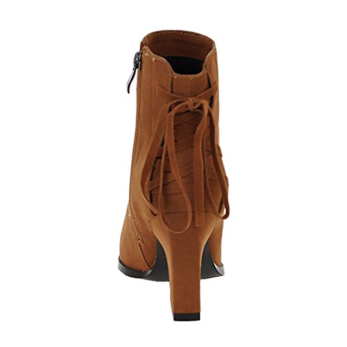 Autumn Brown Ankle Lace Boots Heels Pointed Women's Toe Bootie Winter AIYOUMEI Zipper Block Up Solid 861q7Sw
