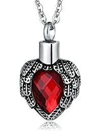 Stainless Steel Cremation Urn Heart Shape Pendant Necklace Jan./Feb./May Birthstone Wing Wrapped