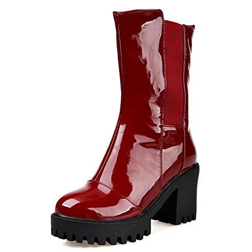 occidental tacones Bloque Plataforma Mujeres Rojo vino altos Chelsea Chelsea de COOLCEPT Botas W6pn4aBxx