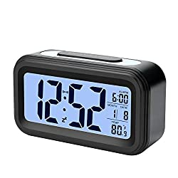 Alarm Clock, Electronic Digital Morning Clock with Large LCD, Backlight, Calendar and Temperature (Black)