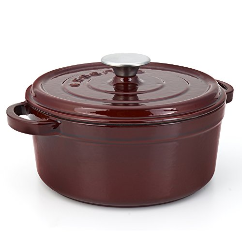 Essenso Grenoble Cast Iron Dutch Oven with Four-Layer Enamel and Ceramic Coated Interior, Burgundy, 5-Quart