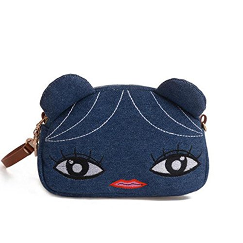Deep Blue Cute Bag Shoulder Cat Women Crossbody Cellphone Panda Purse ZOONAI Girls Wristlet Small ZqFU7gqwA